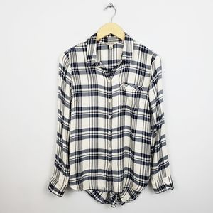 Lucky Brand - Plaid Button-up + Back Button Top